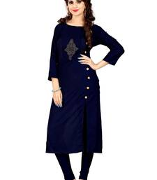 Buy Blue rayon stitched long-kurtis women-ethnic-wear online