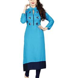Buy Sky blue rayon stitched long-kurtis long-kurtis online