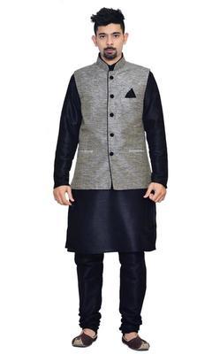 Black Silk Ethnic Indian Traditional Mens Festive Wear Kurta Pyjama with Waistcoat