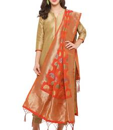 Buy Orange Banarasi Silk Zari Woven Dupatta stole-and-dupatta online
