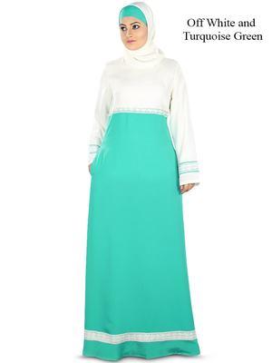 MyBatua Multicolor Poly Crepe Arabian Dailywear Islamic Muslim Long Abaya With Hijab