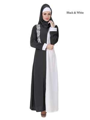 MyBatua Multicolor Polyester Arabian Dailywear Islamic Muslim Long Abaya with Hijab