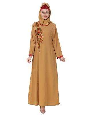 MyBatua Beige Polyester Arabian Dailywear Islamic Muslim Long Abaya With Hijab