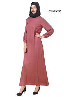 MyBatua Pink Rayon Arabian Dailywear Islamic Muslim Long Abaya With Hijab