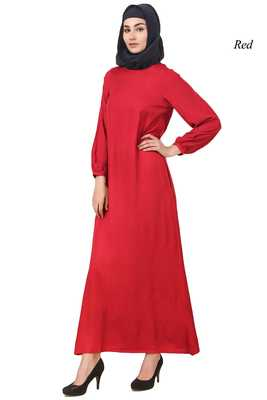 MyBatua Red Rayon Arabian Dailywear Islamic Muslim Long Abaya With Hijab