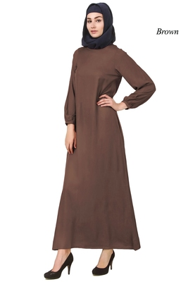 MyBatua Brown Rayon Arabian Dailywear Islamic Muslim Long Abaya With Hijab