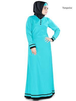 MyBatua Turqoise Polyester Arabian Dailywear Islamic Muslim Long Abaya With Hijab
