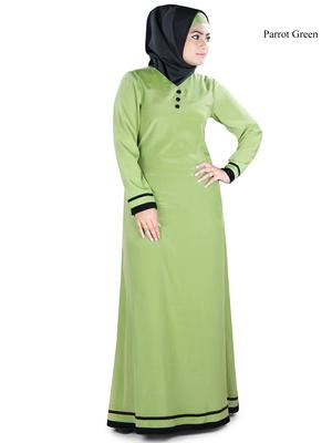 MyBatua Green Polyester Arabian Dailywear Islamic Muslim Long Abaya with Hijab