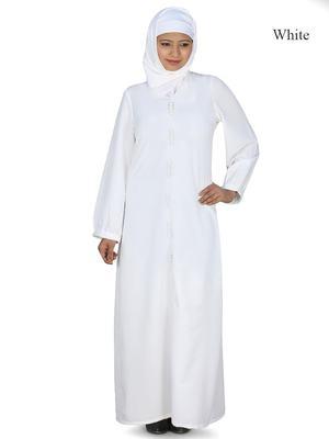 MyBatua White Polyester Arabian Dailywear Islamic Muslim Long Abaya With Hijab