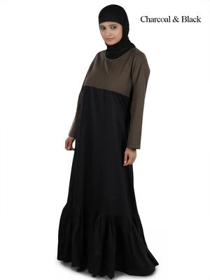 MyBatua Multicolor Cotton Arabian Dailywear Islamic Muslim Long Abaya With Hijab