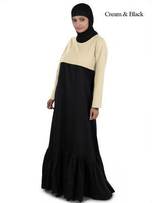 MyBatua Multicolor Cotton Arabian Dailywear Islamic Muslim Long Abaya With Hijab