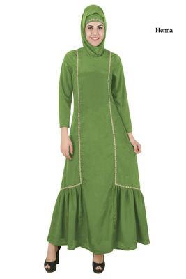 MyBatua Green Poly Crepe Arabian Dailywear Islamic Muslim Long Abaya with Hijab