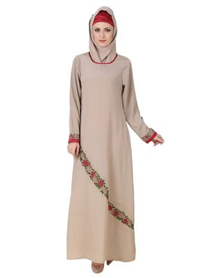 MyBatua Grey Polyester Arabian Dailywear Islamic Muslim Long Abaya with Hijab