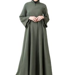 MyBatua Grey Polyester Arabian Dailywear Islamic Muslim Long Abaya with Hijab