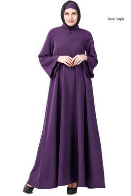 MyBatua Purple Polyester Arabian Dailywear Islamic Muslim Long Abaya With Hijab