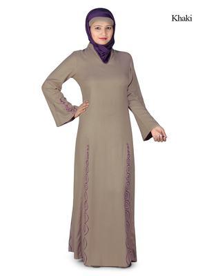 MyBatua Beige Rayon Arabian Dailywear Islamic Muslim Long Abaya With Hijab
