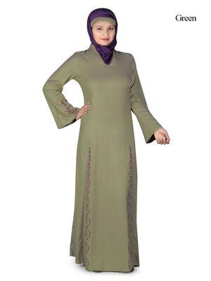 MyBatua Green Rayon Arabian Dailywear Islamic Muslim Long Abaya With Hijab