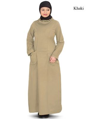 MyBatua Beige Cotton Arabian Dailywear Islamic Muslim Long Abaya with Hijab