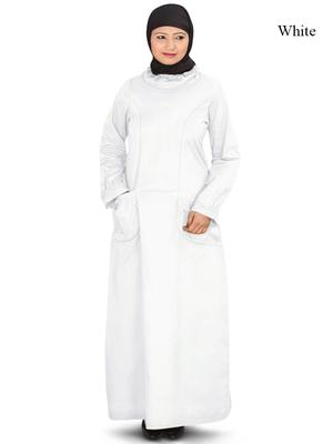 MyBatua White Cotton Arabian Dailywear Islamic Muslim Long Abaya With Hijab