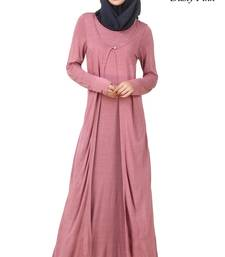 MyBatua Pink Viscose Arabian Dailywear Islamic Muslim Long Abaya with Hijab