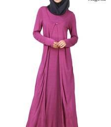 MyBatua Magenta Viscose Arabian Dailywear Islamic Muslim Long Abaya With Hijab