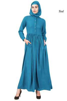 MyBatua Blue Viscose Arabian Dailywear Islamic Muslim Long Abaya With Hijab