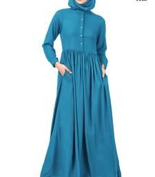 MyBatua Blue Viscose Arabian Dailywear Islamic Muslim Long Abaya With Hijab