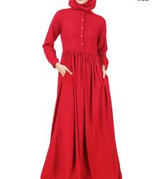 MyBatua Red Viscose Arabian Dailywear Islamic Muslim Long Abaya With Hijab