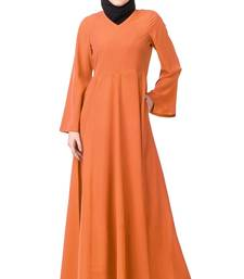 MyBatua Orange Polyester Arabian Dailywear Islamic Muslim Long Abaya with Hijab