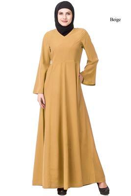 MyBatua Yellow Polyester Arabian Dailywear Islamic Muslim Long Abaya With Hijab