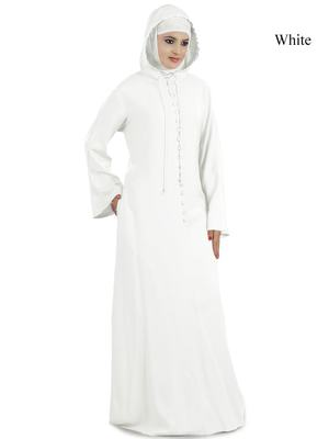 MyBatua White Rayon Arabian Dailywear Islamic Muslim Long Abaya With Hijab