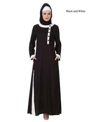 MyBatua Black Rayon Arabian Dailywear Islamic Muslim Long Abaya With Hijab