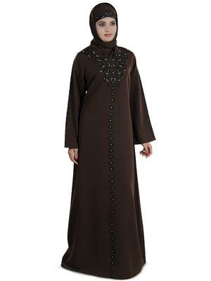 MyBatua Brown Polyester Arabian Dailywear Islamic Muslim Long Abaya with Hijab