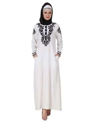 MyBatua White Rayon Arabian Dailywear Islamic Muslim Long Abaya With Hijab