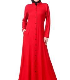 MyBatua Red Rayon Arabian Dailywear Islamic Muslim Long Abaya With Hijab