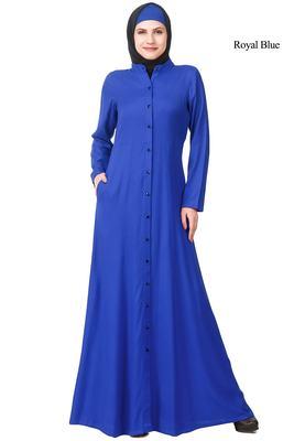 MyBatua Blue Rayon Arabian Dailywear Islamic Muslim Long Abaya With Hijab