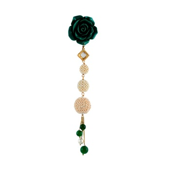 Green Pearl Designer Saree Pin