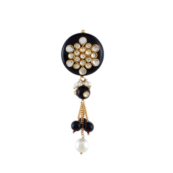 Black Onyx Kundan Saree Pin