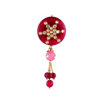 Maroon Onyx Kundan Designer Saree Pin