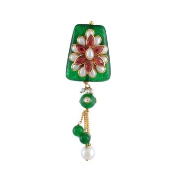 Green Pearl Kundan Onyx Designer Saree Pin