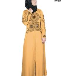 MyBatua Beige Polyester Arabian Dailywear Islamic Muslim Long Abaya With Hijab