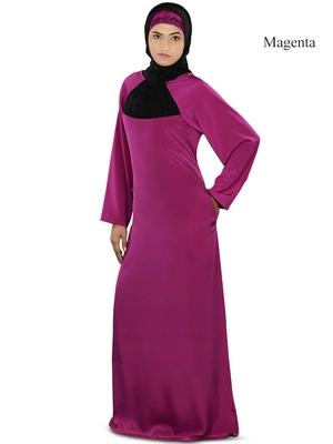 MyBatua Magenta Polyester Arabian Dailywear Islamic Muslim Long Abaya With Hijab