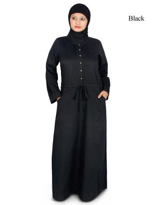 MyBatua Black Poplin Arabian Dailywear Islamic Muslim Long Abaya With Hijab