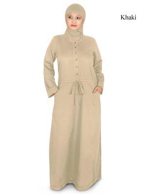 MyBatua Beige Poplin Arabian Dailywear Islamic Muslim Long Abaya With Hijab