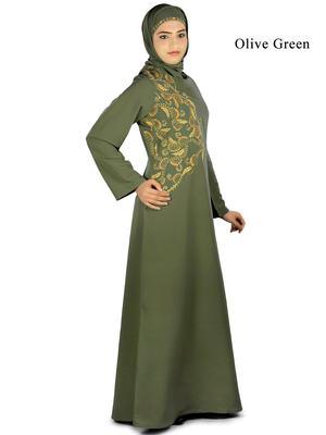 MyBatua Green Polyester Arabian Dailywear Islamic Muslim Long Abaya with Hijab