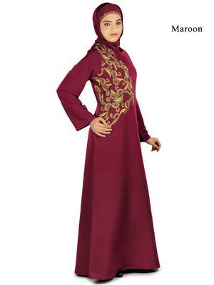 MyBatua Maroon Polyester Arabian Dailywear Islamic Muslim Long Abaya with Hijab