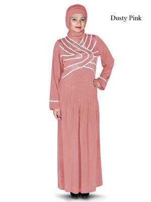 MyBatua Pink Polyester Arabian Dailywear Islamic Muslim Long Abaya With Hijab