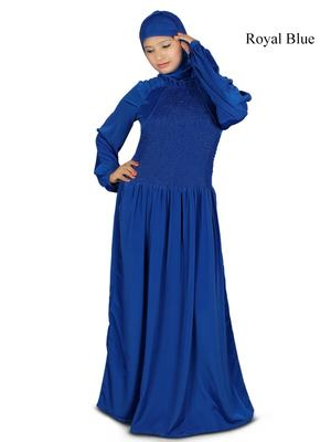 MyBatua Blue Polyester Arabian Dailywear Islamic Muslim Long Abaya With Hijab
