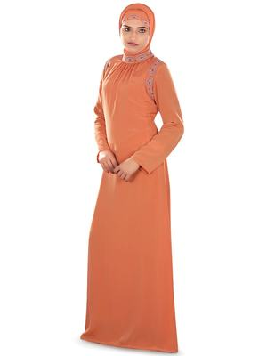 MyBatua Peach Polyester Arabian Dailywear Islamic Muslim Long Abaya With Hijab