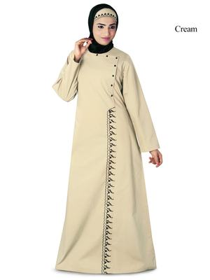 MyBatua Cream Cotton Arabian Dailywear Islamic Muslim Long Abaya With Hijab